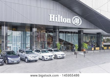 Melbourne, Australia - July 29, 2016: View of Hilton Hotel situated in Melbourne's South Wharf precinct during daytime.
