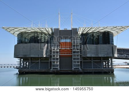 LISBON, PORTUGAL - AUG 21: The Lisbon Oceanarium in Portugal, as seen on Aug 21, 2016. It is the largest indoor aquarium in Europe.