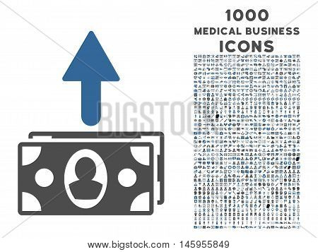 Spend Banknotes vector bicolor icon with 1000 medical business icons. Set style is flat pictograms, cobalt and gray colors, white background.