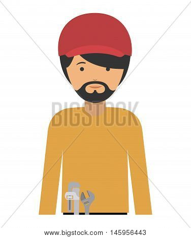 repair man and cartoon icon. profession worker and occupation theme. Isolated design. Vector illustration