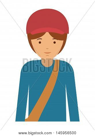 delivery man and cartoon icon. profession worker and occupation theme. Isolated design. Vector illustration