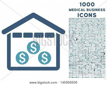Money Depository vector bicolor icon with 1000 medical business icons. Set style is flat pictograms, cyan and blue colors, white background.