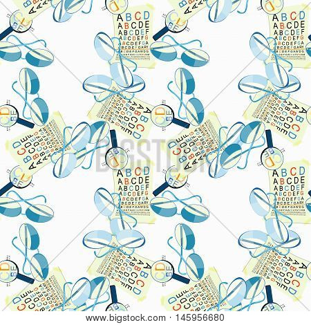 Seamless Pattern With Medical Glasses Of View To Measure And Magnifier. Vector Illustration