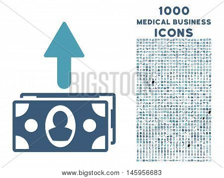 Spend Banknotes vector bicolor icon with 1000 medical business icons. Set style is flat pictograms, cyan and blue colors, white background.