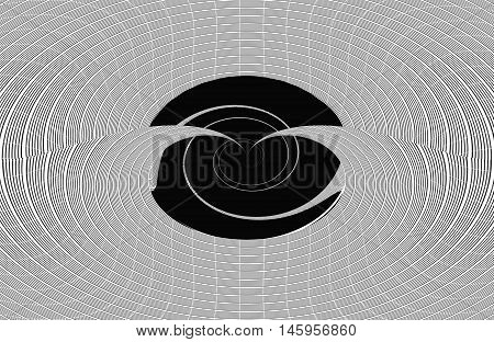 Black and white center twirl optical illusion