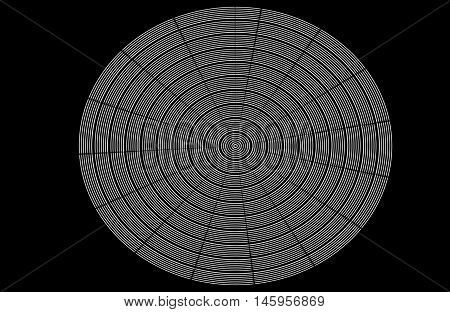 Black and white op art circle with wavy lines