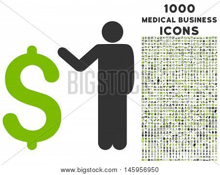 Banker vector bicolor icon with 1000 medical business icons. Set style is flat pictograms, eco green and gray colors, white background.