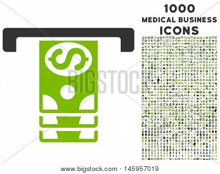 Banknotes Withdraw vector bicolor icon with 1000 medical business icons. Set style is flat pictograms, eco green and gray colors, white background.