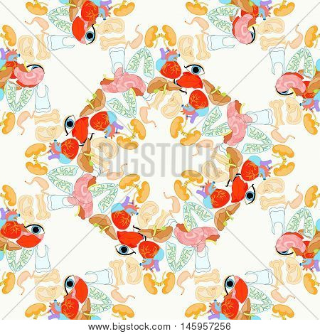 Seamless Pattern With A Human Heart Organ, Lungs, Brain, Spleen, Eyes, Ears, Mouth. Vector Illustrat