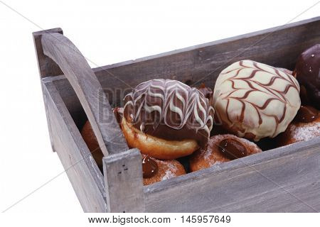 traditional jewish holiday chanuka donuts in retro vintage tray isolated on white background