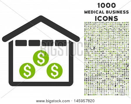 Money Depository vector bicolor icon with 1000 medical business icons. Set style is flat pictograms, eco green and gray colors, white background.