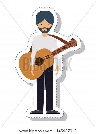 guitar player man and cartoon icon. profession worker and occupation theme. Isolated design. Vector illustration