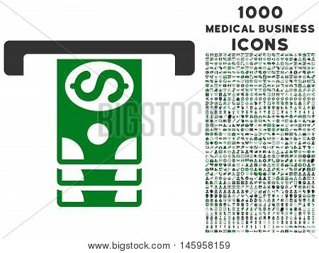 Banknotes Withdraw vector bicolor icon with 1000 medical business icons. Set style is flat pictograms, green and gray colors, white background.