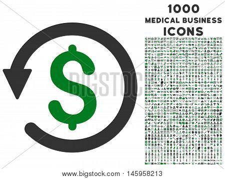 Chargeback vector bicolor icon with 1000 medical business icons. Set style is flat pictograms, green and gray colors, white background.