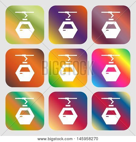 Cableway Cabin Icon . Nine Buttons With Bright Gradients For Beautiful Design. Vector
