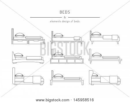 A set of beds in outline style
