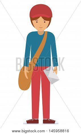 delivery man and cartoon with envelope icon. profession worker and occupation theme. Isolated design. Vector illustration