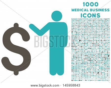 Banker vector bicolor icon with 1000 medical business icons. Set style is flat pictograms, grey and cyan colors, white background.