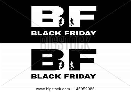 Black friday advertisement 25 november 2016. Shopping people silhouettes. Two banners Poster illustration. Vector.