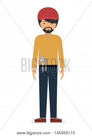 repair man and cartoon with wrench icon. profession worker and occupation theme. Isolated design. Vector illustration