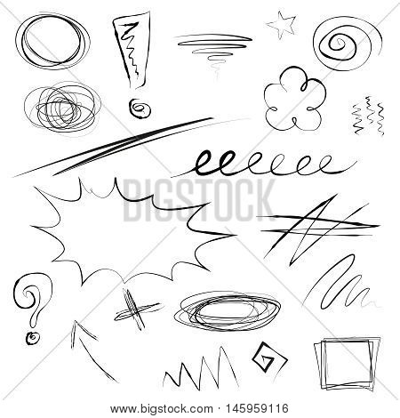 Set of scribbles, sketchy hand drawn frames, arrow, signs, underlines, loops, swirls, marks, cross, zigzag. Doodles isolated on white. Vector illustration.