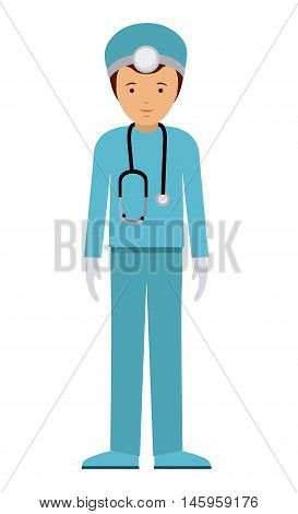 doctor man and cartoon icon. profession worker and occupation theme. Isolated design. Vector illustration