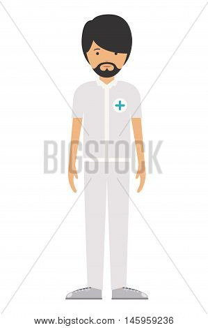 nurse man and cartoon icon. profession worker and occupation theme. Isolated design. Vector illustration