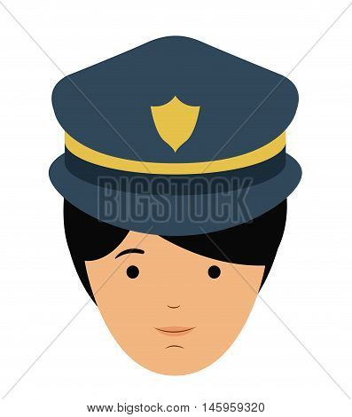 policeman and cartoon icon. profession worker and occupation theme. Isolated design. Vector illustration