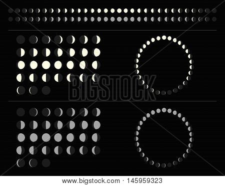 Set of moon phases schemes: circle, line, lunar calendar. Isolated illustration. Vector.