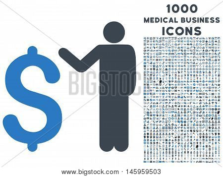 Banker vector bicolor icon with 1000 medical business icons. Set style is flat pictograms, smooth blue colors, white background.