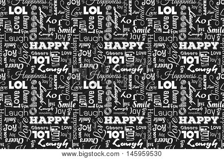 Seamless pattern with words: happy, joy, laugh, smile, happiness, love, fun, cheers. Vector. Black background.