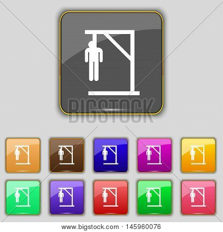Suicide Concept Icon Sign. Set With Eleven Colored Buttons For Your Site. Vector