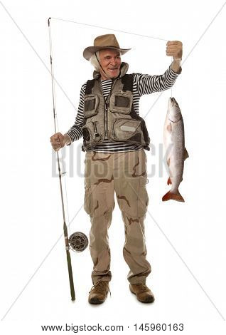 Senior fisherman with big fish - salmon isolated on white