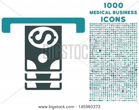 Banknotes Withdraw vector bicolor icon with 1000 medical business icons. Set style is flat pictograms, soft blue colors, white background.