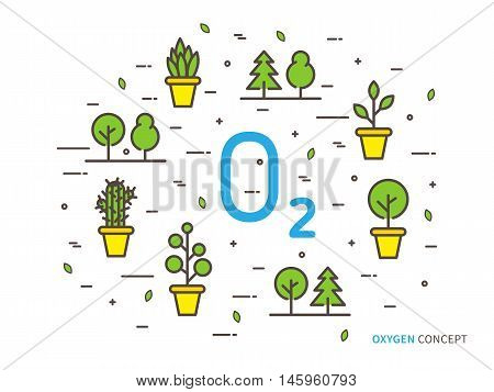 O2 Oxygen Linear Vector Illustration