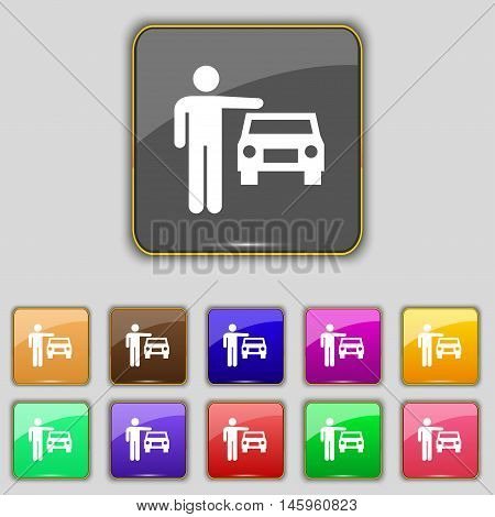 Person Up Hailing A Taxi Icon Sign. Set With Eleven Colored Buttons For Your Site. Vector