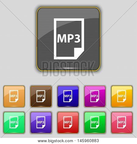 Mp3 Icon Sign. Set With Eleven Colored Buttons For Your Site. Vector