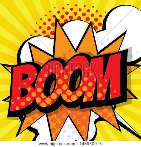 boom pop art comic book background vector illustration