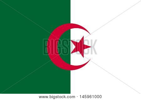Flag of Algeria in correct size proportions and colors. Accurate official standard dimensions. Algerian national flag. African patriotic symbol banner element background. Vector illustration