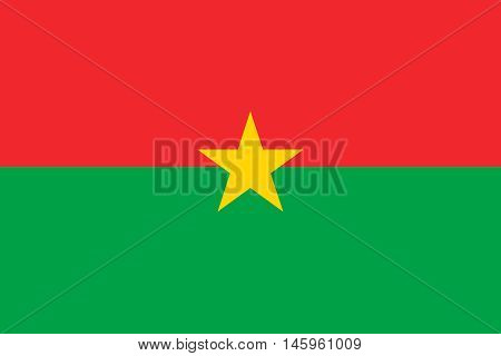 Flag of Burkina Faso in correct size proportions colors. Accurate official standard dimensions. Burkina Faso national flag. African patriotic symbol banner element background. Vector illustration