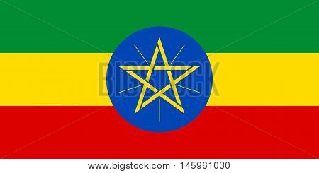 Flag of Ethiopia in correct size proportions and colors. Accurate official standard dimensions. Ethiopian national flag. African patriotic symbol banner element background. Vector illustration