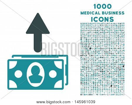 Spend Banknotes vector bicolor icon with 1000 medical business icons. Set style is flat pictograms, soft blue colors, white background.