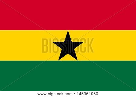 Flag of Ghana in correct size proportions and colors. Accurate official standard dimensions. Ghanaian national flag. African patriotic symbol banner element background. Vector illustration