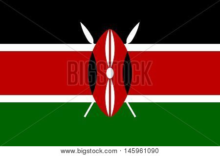 Flag of Kenya in correct size proportions and colors. Accurate official standard dimensions. Kenyan national flag. African patriotic symbol banner element background. Vector illustration