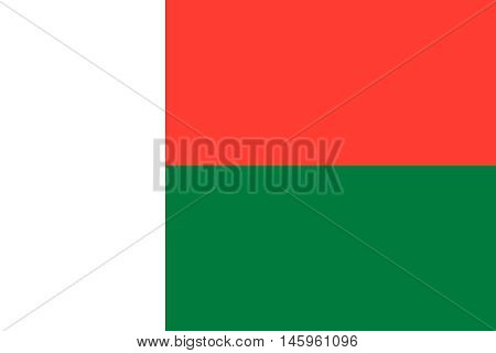 Flag of Madagascar in correct size proportions and colors. Accurate official standard dimensions. Madagascar national flag. African patriotic symbol banner element background. Vector illustration