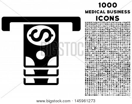 Banknotes Withdraw vector icon with 1000 medical business icons. Set style is flat pictograms, black color, white background.