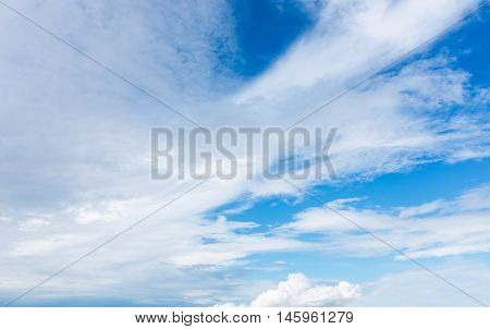 Beautiful Blue Sky With Cloudy. Nature Background. Outdoors