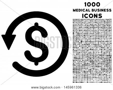 Chargeback vector icon with 1000 medical business icons. Set style is flat pictograms, black color, white background.