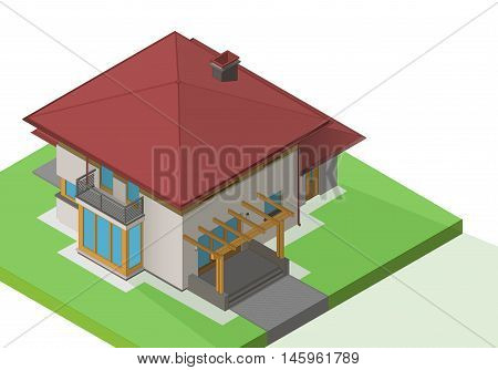 suburban house exterior isometric flat vector. Mansion 3d illustration. Cottage isolated on white background