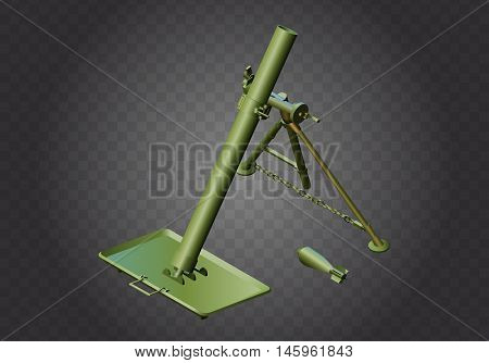 Mortar military weapon isometric flat vector 3d illustration isolated on white background